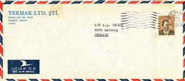 Turkey Air Mail Cover Sent To Denmark Kizilay 20-1-1976 Single Franked - 1921-... Republik