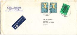 Turkey Cover Sent  Air Mail To Denmark Karaköy 11-9-1975 - 1921-... Republic