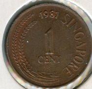 Singapour Singapore 1 Cent 1981 KM 1a - Singapour