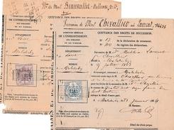 """1864/1867 - Lot De 2  """"TIMBRE IMPÉRIAL DE DIMENSION """" De 20 Et 50 C. - Historical Documents"""