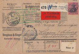 DR Paketkarte EF Minr.93I Karlsruhe 16.4.13 Gel. In Schweiz - Briefe U. Dokumente