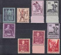 MOTIFS  HISTORIQUES 1941 ET 1958-59 - INCOMPLET, MAIS ** - COTE TOTALE 104.-- CHF - Svizzera
