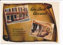 Carte ( Format 15 X 10 Cm ) D' Avallon   Au Bon Accueil  Hôtel Restaurant Vandenbussche ( Recto Verso ) - Avallon