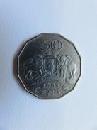 022 - 50 Cents - 1993 - Swaziland Laiton Nickelé - 29 Mm- 8,7 G - Swaziland