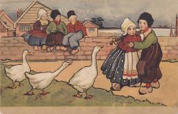 Carte Illustrée Par Ethel Parkinson - Jeune Fille Apeurée, Dans Les Bras D'un Garçon, Quand Les Oies La Soufflent - Parkinson, Ethel