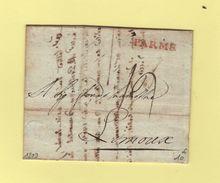 Parme - Destination Limoux - Courrier De 1809 - Parma