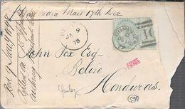 WEST INDIA A BELIZE AN 1878 ENVELOPPE CIRCULEE AVEC 3 CERTIFICATIONS D'EXPERTS AU FRONT - 1849-1850 Cérès