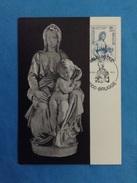 Cartolina Michelangelo Buonarroti Madonna Col Bambino Brugge Con Francobollo Belgique  Belgie - Sculptures