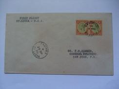 SAINT LUCIA - 1929 First Flight Cover - U.S.A.  - Castries To San Juan Puerto Rico - St.Lucia (...-1978)