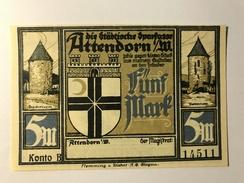 Allemagne Notgeld Attendorn 5 Mark - [ 3] 1918-1933 : Weimar Republic