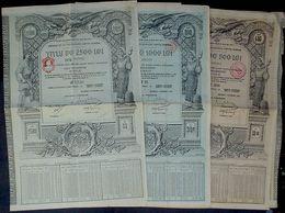 3 X Romania Roumanian Public Dept Gold Loan Of 500 - 2500 Lei Aur, 19,16 Pound Sterling, Bukarest 1913 Uncancelled - Banque & Assurance