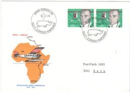 Suisse/Switzerland/Schweiz 1977: Prémier Vol / First Flight / Erstflug Zürich Cape Town/Kapstad Rhinoceros/Rhinocéros/Na - Rhinozerosse
