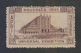 Belgium   1935  UNIVERSAL EXHIBITION  LABEL # 41115 S - Postage Labels