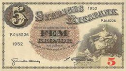 SWEDEN 5 KORONOR 1952 P-33ai XF+ [SE33ai] - Sweden