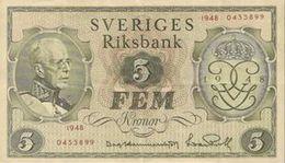 SWEDEN 5 KORONOR 1948 P-41a VF COMMEMORATIVE RARE ! [SE41] - Sweden