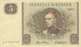 SWEDEN 5 KORONOR 1963 P-50b UNC-  [SE50b] - Sweden