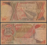 Bank Of Uganda 200 SHILLINGS (1987) Pick 32 - MIA MBILI BANK NOTE - BANKNOTE 1998 - Ouganda SHILLING - Uganda