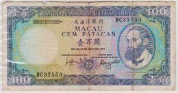 1984 MACAU 100 PATACAS NOTE IN A NICE COLLECTIBLE GRADE. - Macao