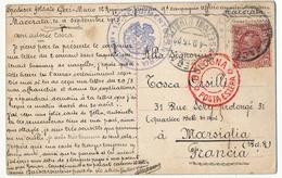 """Italie - CP Oblitération """"MACERATA SEZIONE RIUNITE"""" 1915 + Cachet Administratif 12eme Régiment Infanterie - Military Mail (PM)"""