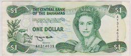 1974-84 BAHAMAS QEII ONE DOLLAR  NOTE IN A CRISP AU GRADE. - Bahamas