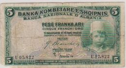 1926 ALBANIA CINQUE 5 PESE NOTE IN A COLLECTIBLE GRADE. - Albania