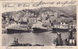 Genova - Navi In Porto (Rex-Conte Savoia - Augustus) - 1938 - 9x14  (2 Foto) - Paquebots