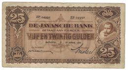 Netherlands Indies 25 Gulden 1930, F, P-71c . Rare. - Dutch East Indies