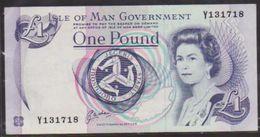 1983 QEII ISLE OF MAN ONE POUND NOTE IN A CRISP AU GRADE. - Isle Of Man / Channel Island