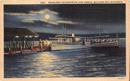 ¤¤  -  ETAT-UNIS  -   WISCONSIN   - WALWORTH  -   Moonlight Excursion On Lake Geneva  -  ¤¤ - Etats-Unis