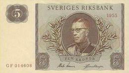 SWEDEN 5 KORONOR 1955 P-42b UNC-  [SE42b] - Sweden
