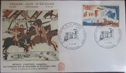 Enveloppe FDC 567 - 1966 - Bataille Hastings - YT 1486 - Falaise - Chevaux - Drapeau - Tapisserie - 1960-1969