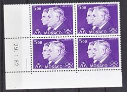 Monaco PA 100 Princes Rainier Et Albert Bloc De 4 Coin Daté 29 1 82 Neuf ** TB MNH SIN CHARNELA Faciale 3.05 - Poste Aérienne