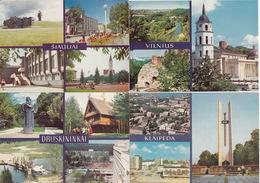 4 Multiview POSTCARDS Of LITHUANIA : Siauliai, Druskininkai, Klaipeda & Vilnius In 1981 - Litouwen