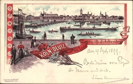 Lithographie Deutz Köln Nordrhein Westfalen, Stadtpanorama, Rheinpartie, Schiffe - Allemagne