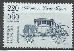 """N°998 Timbre Poste 1989 : Journée Du Timbre """" Diligence Paris-Lyon """" Bleu 2.20 + 0.60 Fr - France"""