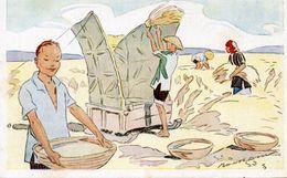 ASIE VIETNAM LE RIZ D' INDO-CHINE BATTAGE DU RIZ ILLUSTRATEUR GEORGES BOURDIN - Andere Illustrators