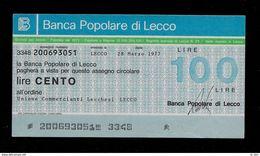 Mini Assegno Mini Assegno BANCA POP LECCO Un. Comm Lecchesi 100 Lire - FDS - [10] Assegni E Miniassegni