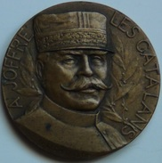 Medalla Voluntarios Catalanes A General Joffre En 1ª Guerra Mundial. Diada Catalana 1916. Francia - 1914-18
