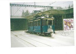 17042 - Carte Maximum Suisse Forchbahn Motorwagen Im Winter (format 10X15) - Trains