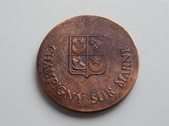 Grande Médaille D'Honneur Poinçonnée En Cuivre De  La Ville Champigny Sur Marne ( 192 Gr. / Voir Photo ) ! - France
