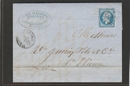 Ardèche - Saint Martin De Valamas - CAD Type 15 - GC3757 Sur N°22 -LAC De  Mai 1866 - Marcophilie (Lettres)