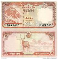 Nepal P-62, 20 Rupee, Mount Everest, Krishna Temple / Sambar Deer, 2009 - Nepal