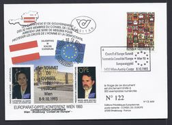 8.10.1983 HUNDERTWASSER AUTRICHE AUSTRIA WIEN VIGNETTE LALUMIERE MARTINEZ CONSEIL EUROPE TIRAGE LIMITE 500ex - Emissions Communes