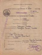 AUDE - CARCASSONNE - GUERRE 1939-45 - SECRETARIAT D' ETAT AU RAVITAILLEMENT - AUTORISATION DE TRANSPORT - 1942 - Titres De Transport