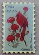 OISEAU ROUGE  SUR TIMBRE US - OHIO USA 20c - CARDINAL & RED CAMATION -               (18) - Animals