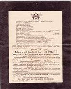 Oorlogsslachtoffer,1945, Maurice Cornet, Cornelis, Kortrijk, Rechtinghausen, Duitsland, Diksmuide : Verzenden 1,60 Eur - Décès