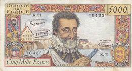 Billet 5000 F Henri IV Du 6-3-1958 FAY 49.6 Alph. K.51 MARGE DROITE DECOUPÉE - 1871-1952 Anciens Francs Circulés Au XXème