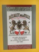 4449 -  Les 450 Vendanges Des Vignobles De La Ville De Lausanne 1537-1987 Musée Historique De L'Ancien Evêché Suisse - Etiquettes