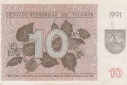 (B0728) LITHUANIA, 1991. 10 Talonas. P-35b. AUNC (AU) - Lituanie