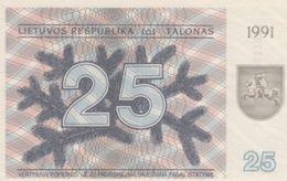 (B0729) LITHUANIA, 1991. 25 Talonas. P-36b. UNC - Lituanie